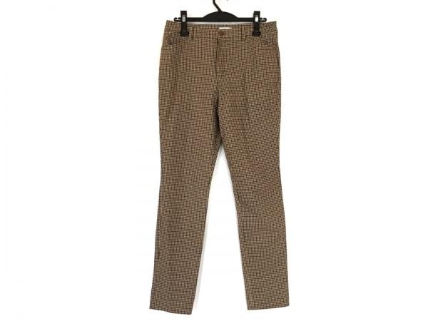 ビースリー パンツ サイズ38 M レディース ベージュ×黒×レッド チェック柄