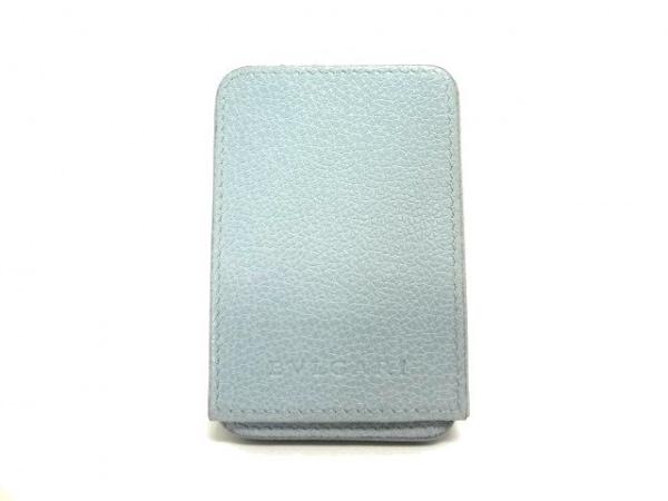BVLGARI(ブルガリ) カードケース - ライトブルー スライドタイプ レザー