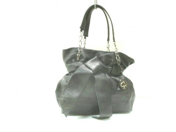 Rachel Ge(ラッシェルジェ) ハンドバッグ 黒×ダークグレー リボン レザー×金属素材