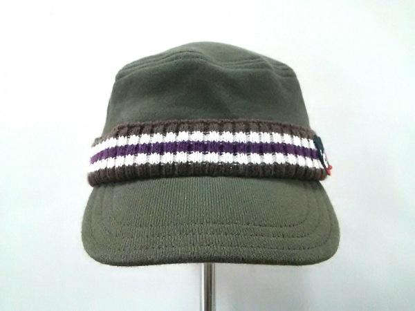 miki HOUSE(ミキハウス) 帽子 S 48-50 カーキ×ダークブラウン×マルチ DOUBLE.B