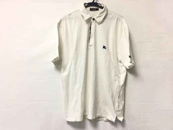 バーバリーブラックレーベル 半袖ポロシャツ サイズ3 L メンズ 白