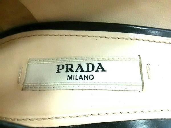 PRADA(プラダ) パンプス 34 レディース美品  黒 ウェッジソール/オープントゥ レザー