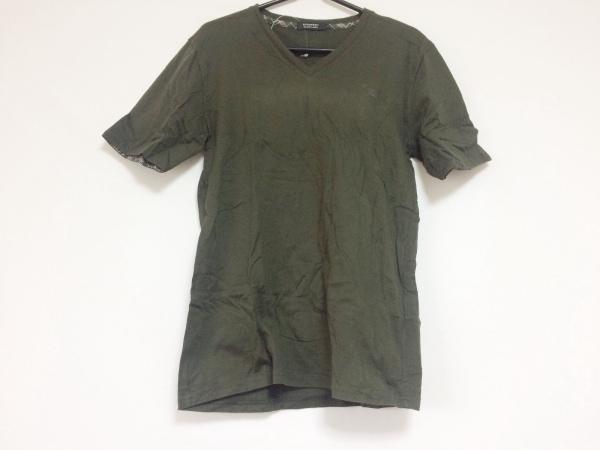 バーバリーブラックレーベル 半袖Tシャツ サイズ2 M メンズ カーキ Vネック