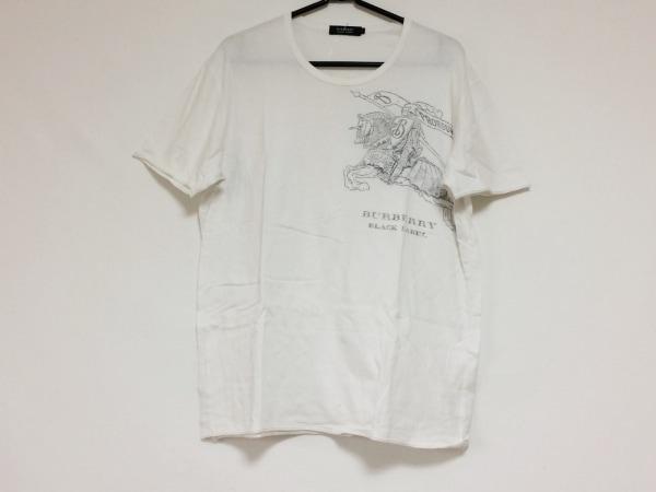 バーバリーブラックレーベル 半袖Tシャツ サイズ3 L メンズ 白×ダークグレー