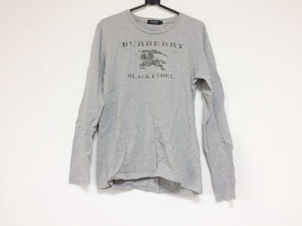バーバリーブラックレーベル 長袖Tシャツ サイズ2 M メンズ グレー×ダークブラウン