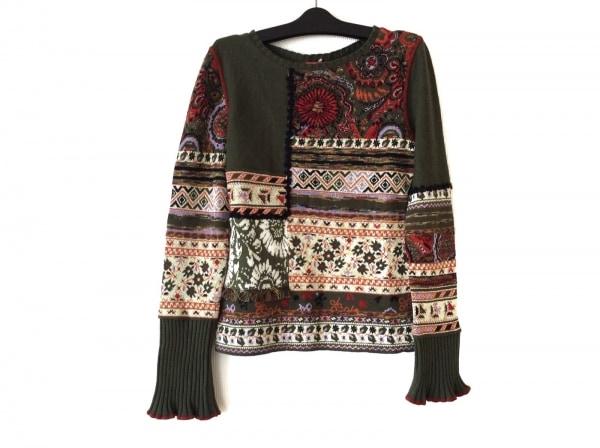 CHACOK(シャコック) 長袖セーター サイズ1 S レディース美品  カーキ×マルチ
