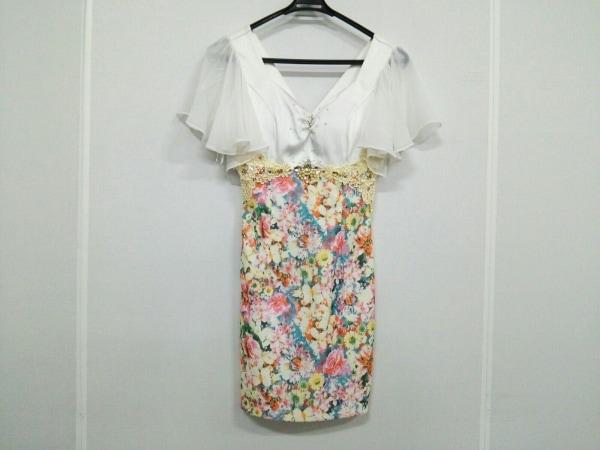 ANDY(アンディ) ドレス サイズS レディース 白×ピンク×マルチ 花柄/ビジュー