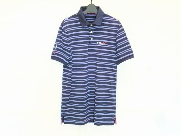 ラルフローレン 半袖ポロシャツ サイズS メンズ ネイビー×パープル ボーダー