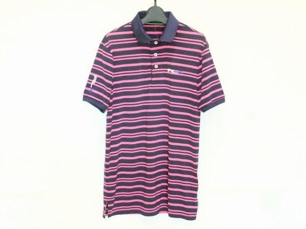 ラルフローレン 半袖ポロシャツ サイズS メンズ ダークネイビー×ピンク ボーダー