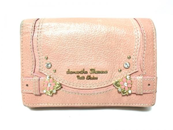 サマンサタバサプチチョイス 2つ折り財布 サーモンピンク ラインストーン/フラワー