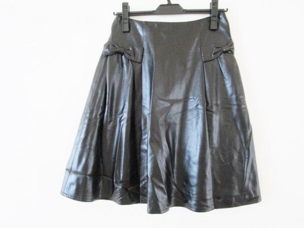 Rene(ルネ) スカート サイズ36 S レディース美品  黒 フェイクレザー/リボン