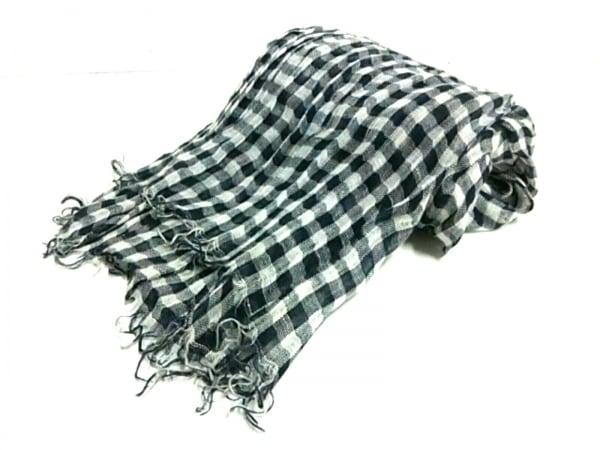 COLOMBO(コロンボ) ストール(ショール)美品  黒×白 チェック柄 リネン