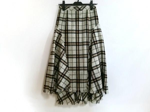 ドロシーズ ロングスカート サイズ1 S レディース美品  ライトグレー×黒×ブラウン