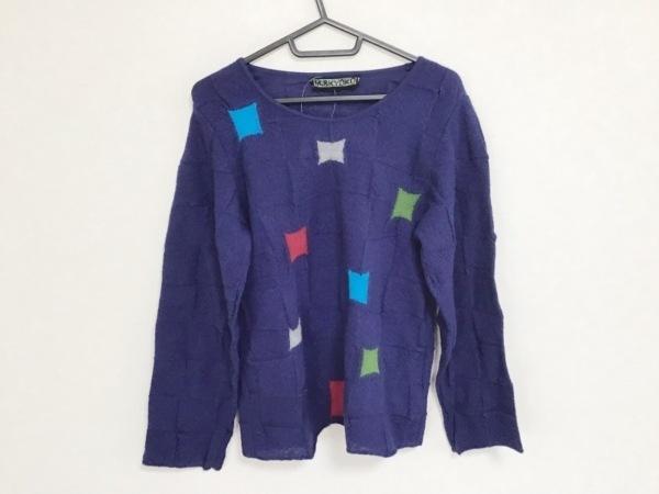 エムアンドキョウコ 長袖セーター サイズ2 M レディース ネイビー×ブルー×マルチ