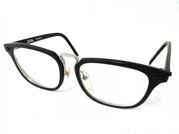 ゴルチエ メガネ 55-8202 クリア×黒×シルバー 度入り プラスチック