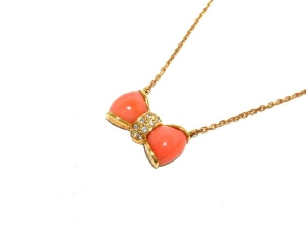 ラソマ ネックレス K18PG×ダイヤモンド×カラーストーン ピンク 0.08カラット/リボン