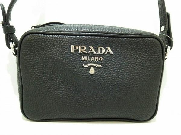 6f5c9f2096a1 PRADA(プラダ) ショルダーバッグ新品同様 - 黒 革タグ レザーの中古 ...