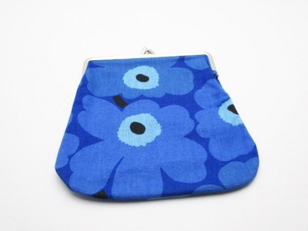 marimekko(マリメッコ) ポーチ美品  ブルー×ライトブルー 花柄/がま口 コットン