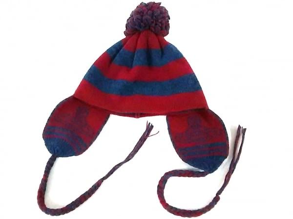 ヴィヴィアンウエストウッドアクセサリーズ ニット帽 レッド×ブルー ボーダー ウール