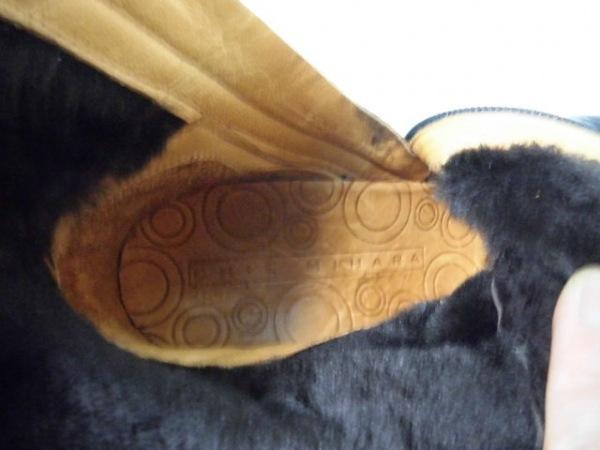 チエミハラ ショートブーツ 35 1/2 レディース 黒×ダークブラウン レザー×ムートン