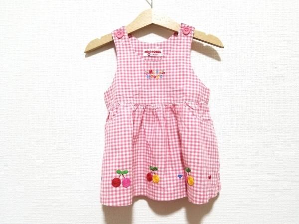 ミキハウス ワンピース サイズ80 レディース美品  ピンク×白 チェック柄/刺繍
