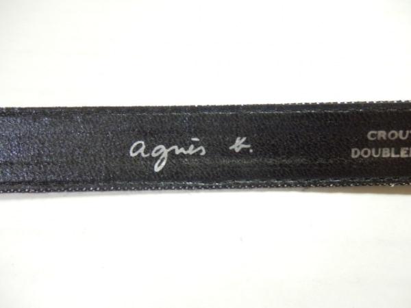 agnes b(アニエスベー) ベルト 75 黒×シルバー ラメ 化学繊維×レザー