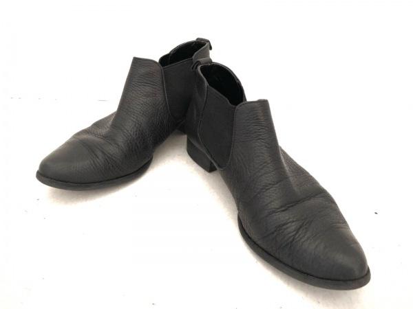 DIANA(ダイアナ) ショートブーツ 23 1/2 レディース 黒 サイドゴア レザー×化学繊維