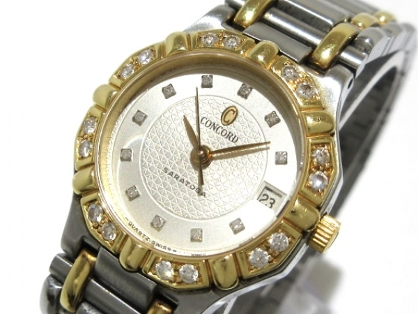 CONCORD(コンコルド) 腕時計美品  サラトガ 15.73.287/1 レディース YG×SS/16Pダイヤ