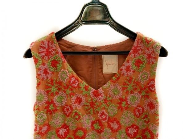 シビラ ワンピース サイズL レディース美品  ブラウン×レッド×マルチ 花柄/刺繍