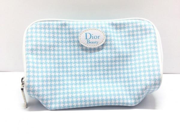 Dior Beauty(ディオールビューティー) ポーチ美品  ライトブルー×白 千鳥格子 合皮