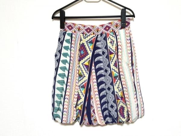 ティビ スカート サイズ0 XS レディース美品  アイボリー×ネイビー×マルチ シルク