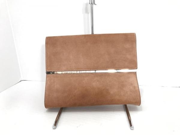 マルタンマルジェラ クラッチバッグ ライトブラウン×シルバー スエード×金属素材