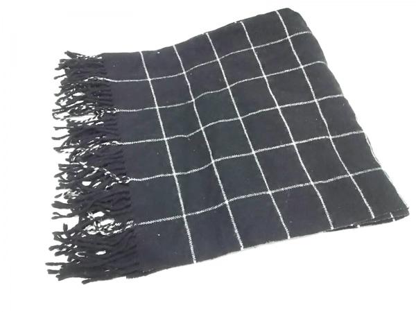 ビューティフルピープル ストール(ショール) 黒×白 チェック柄 ウール
