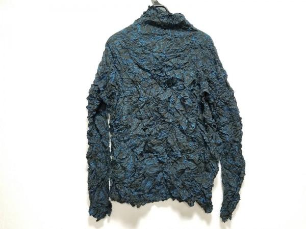 イッセイミヤケパーマネント 長袖カットソー サイズ2 M レディース美品  黒×ブルー