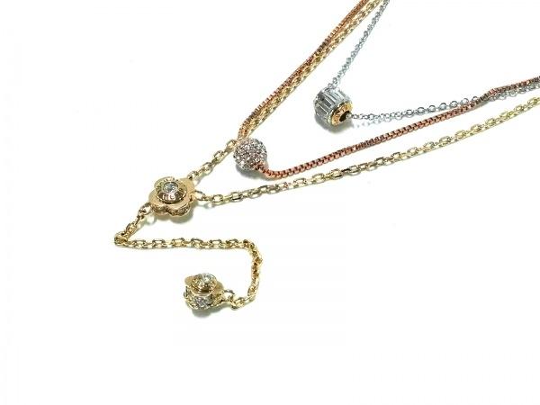 ヘンリベンデル ネックレス美品  金属素材×ラインストーン 3連/取外し可/フラワー