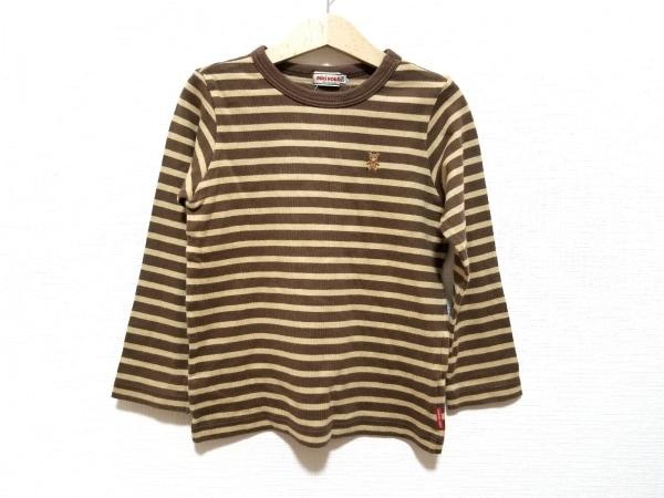 ミキハウス 七分袖Tシャツ サイズ120 レディース美品  ベージュ×ダークブラウン