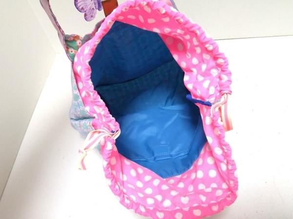 フェフェ トートバッグ美品  ピンク×ライトブルー×マルチ フラワー/メッシュ/巾着型
