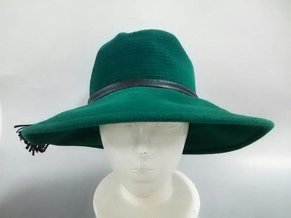 maxim(マキシン) 帽子 グリーン×黒 ウール×レザー