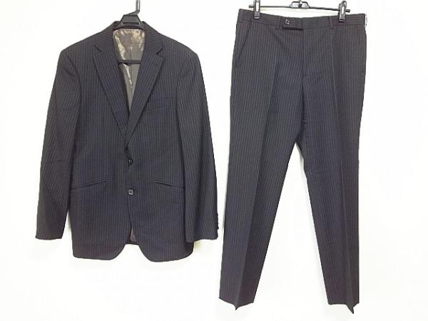 ボイコット シングルスーツ サイズ4 XL メンズ 黒×グレー×白 ストライプ/シングル