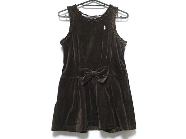 ミキハウス ワンピース サイズ140 レディース ダークブラウン 子供服/ベロア/フリル