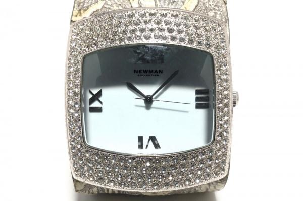 NEWMAN(ニューマン) 腕時計 - レディース 革ベルト/型押し加工/ラインストーン 白