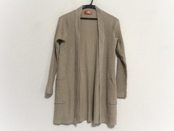 ユマコシノ カーディガン サイズ38 M レディース美品  ベージュ ロング丈/ラメ