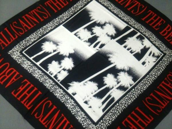 All Saints(オールセインツ) スカーフ美品  黒×白×レッド シルク
