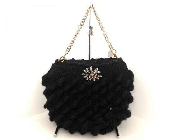 joujou(ジュジュ) ハンドバッグ 黒×ゴールド ビジュー ウール×金属素材