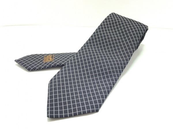 HERMES(エルメス) ネクタイ メンズ美品  - 黒×白 チェック柄