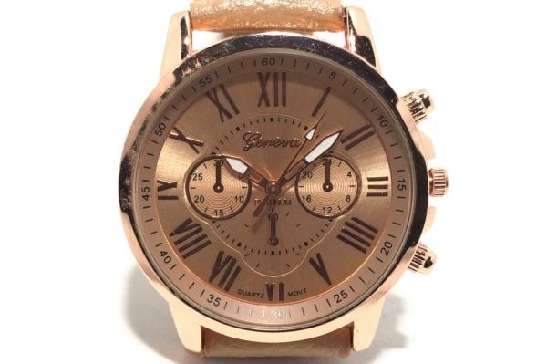 GENEVA QUARTZ(ジェネバクォーツ) 腕時計 - - メンズ 革ベルト/クロノグラフ ゴールド
