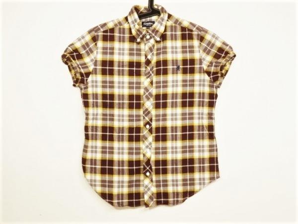 ジムフレックス 半袖シャツ サイズ14 メンズ ダークブラウン×イエロー×マルチ