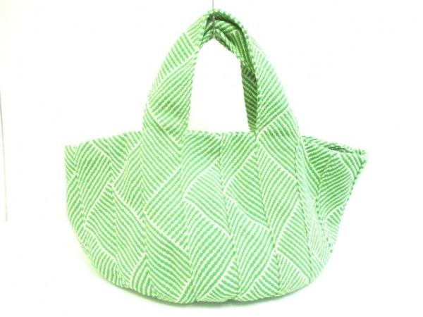 トレンタセイ トートバッグ ライトグリーン×白×アイボリー ボーダー 化学繊維