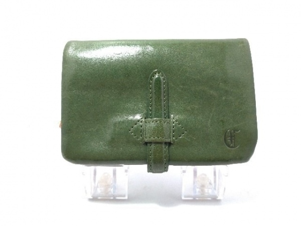 CLEDRAN(クレドラン) 2つ折り財布 グリーン×ブラウン 小銭入れ着脱可 レザー