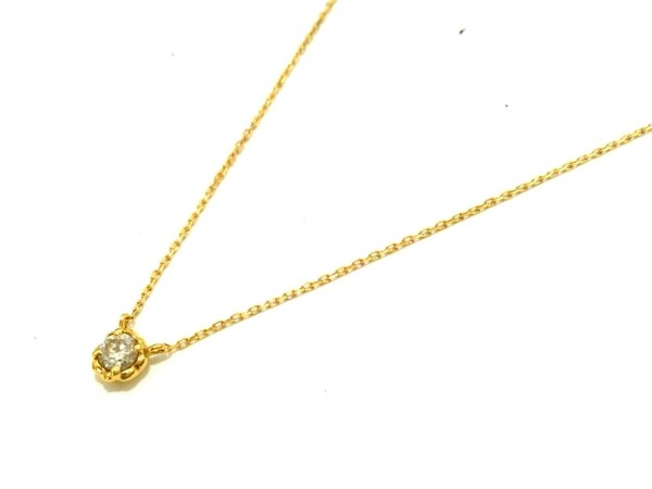AHKAH(アーカー) ネックレス美品  K18YG×ダイヤモンド 1Pダイヤ